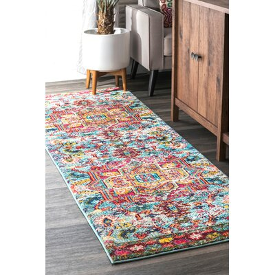 Penrod Pink/Blue Area Rug Rug Size: Rectangle 53 x 77
