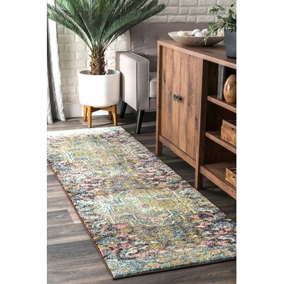 Perillo Green/Purple Area Rug Rug Size: Runner 26 x 8