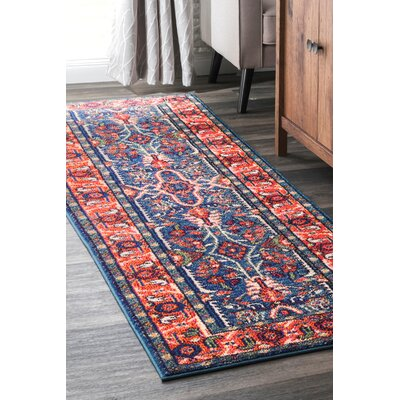 Pensford Blue/Orange Area Rug Rug Size: Rectangle 53 x 77