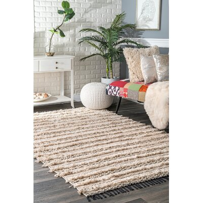 Perlman Hand-Woven Cotton Beige Area Rug Rug Size: Rectangle 5 x 8