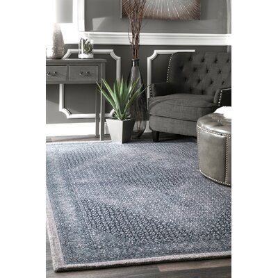 Perlman Hand-Woven Wool Navy Area Rug Rug Size: Rectangle 5 x 8