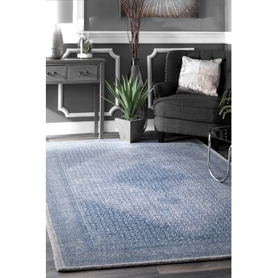 Perlman Hand-Woven Wool Blue Area Rug Rug Size: Rectangle 5 x 8