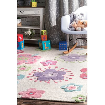 Holloman Hand-Woven Wool Pink/Blue Area Rug Rug Size: Rectangle 5 x 7