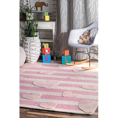 Holloman Hand-Woven Wool Pink Area Rug Rug Size: Rectangle 7 x 9