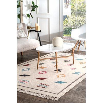 Manna Flatweave Ivory Area Rug Rug Size: Rectangle 76 x 96