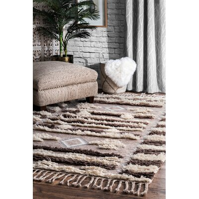 Perlman Hand-Woven Wool Brown/Beige Area Rug Rug Size: Rectangle 76 x 96
