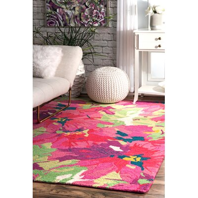 Litwin Hand-Woven Wool Pink/Green Area Rug Rug Size: Rectangle 76 x 96