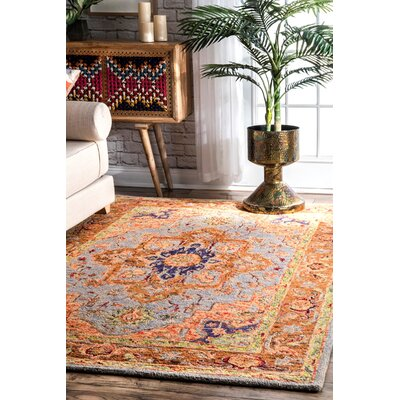 Perryman Hand-Hooked Wool Rust Area Rug Rug Size: Rectangle 5 x 8