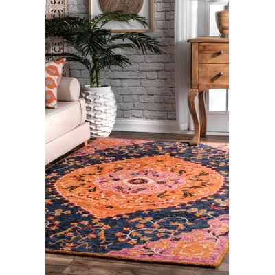 Perryman Hand-Hooked Wool Orange Area Rug Rug Size: Rectangle 5 x 8