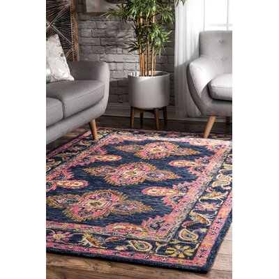 Perryman Hand-Hooked Wool Navy Area Rug Rug Size: Rectangle 5 x 8