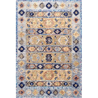 Staudt Hand-Hooked Wool Blue Area Rug Rug Size: Rectangle 5 x 8