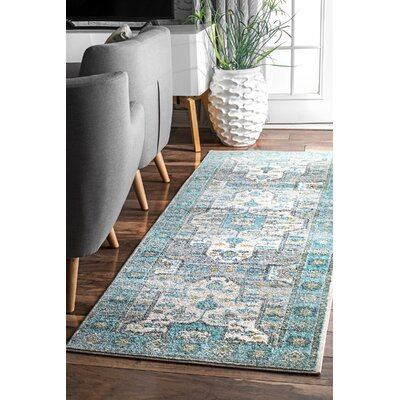 Pereyra Light Blue Area Rug Rug Size: Runner 28 x 8