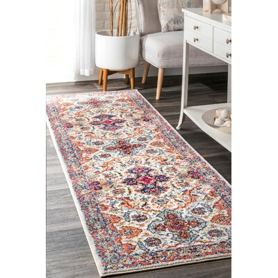Perz Ivory Area Rug Rug Size: Runner 28 x 8