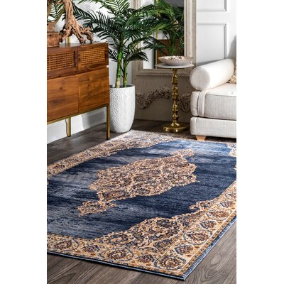 Perdue Navy Area Rug Rug Size: Rectangle 9 x 12