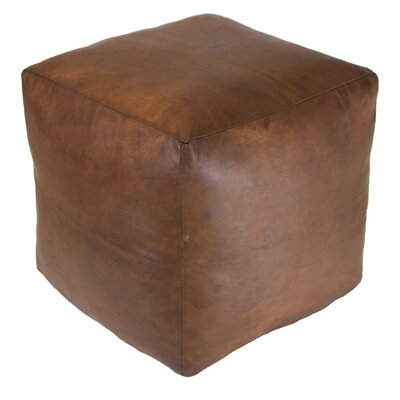 Creeksville Leather Pouf Upholstery: Brown