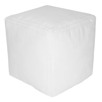 Creeksville Leather Pouf Upholstery: White