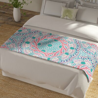 Miranda Mol Prismatic Abstract Bed Runner Color: White/Blue Pink