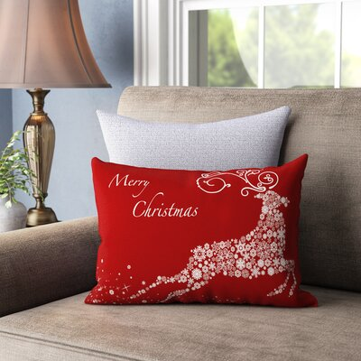 Cantor Snowflake Reindeer Lumbar Pillow Color: Red