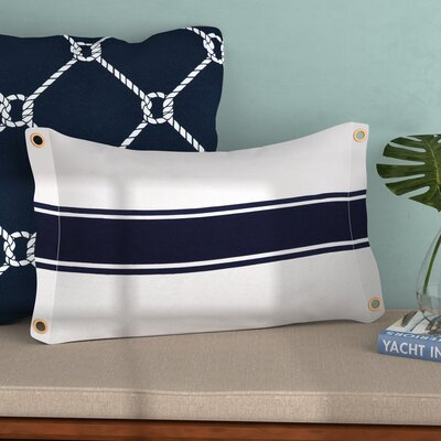 Inshore Grommet And Stripe Cotton Lumbar Pillow Color: Navy