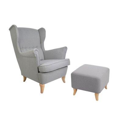 Ohrensessel Juki mit Hocker | Wohnzimmer > Sessel > Ohrensessel | DomArtStyl