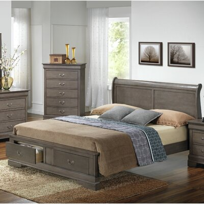 Mayssa Storage Sleigh Bed Color: Gray, Size: Queen