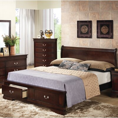 Mayssa Storage Sleigh Bed Color: Cappuccino, Size: Queen