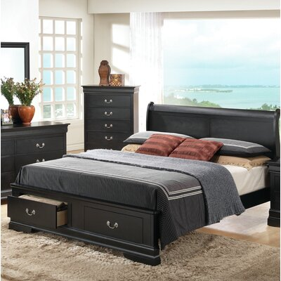 Mayssa Storage Sleigh Bed Color: Black, Size: Queen