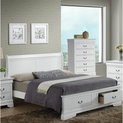 Mayssa Storage Sleigh Bed Color: White, Size: Queen