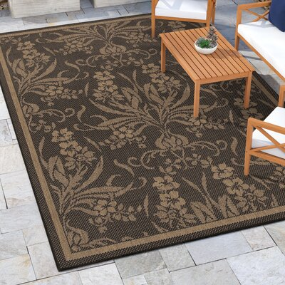 Celia Black/Yellow Indoor/Outdoor Area Rug Rug Size: Rectangle 86 x 13