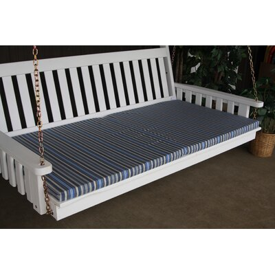 "Image of Indoor/Outdoor Bench Cushion Size: 75"" W x 39"" D, Fabric: Blue Stripe"