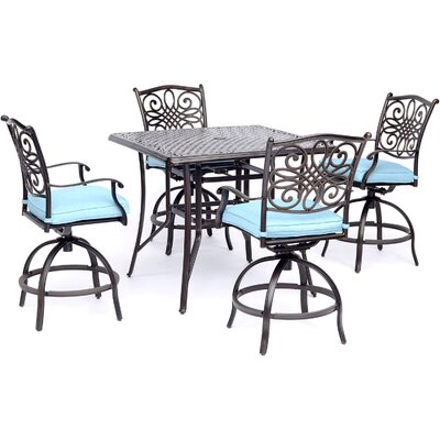 Astoria Grand Ricci Traditions 5 Piece Bar Height Dining Set Cushion Color: Blue