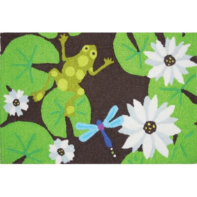 Beames Lily Pad Frog Hand-Tufted Green/Brown Indoor/Outdoor Area Rug