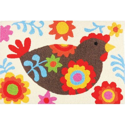 Mcgill Country Chicken Hand-Tufted Red/Brown/Yellow Indoor/Outdoor Area Rug