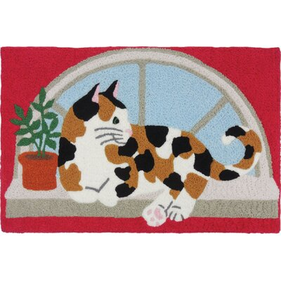 Beamond Calico Kitty Hand-Tufted Pink/Beige/Blue Indoor/Outdoor Area Rug