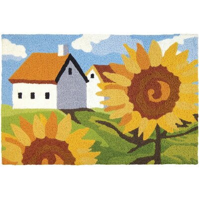 Mcginley Sunflowers on the Farm Hand-Tufted Blue/Green/Yellow Indoor/Outdoor Area Rug