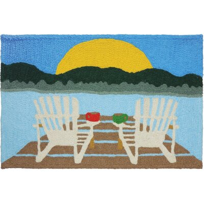 Strohm Sunrise at the Lake Hand-Tufted Blue/Green/Brown Indoor/Outdoor Area Rug