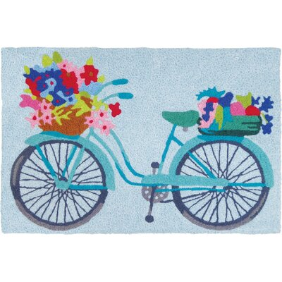 Mcginty Flower Basket on Bicycle Hand-Tufted Blue/Red/Pink Indoor/Outdoor Area Rug