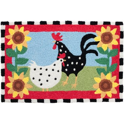 Mcglothin Funky Chickens Hand-Tufted Red/Black/Yellow Indoor/Outdoor Area Rug