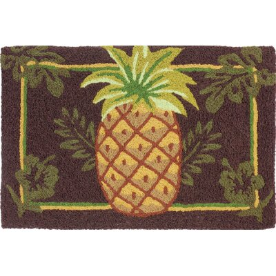 Quillen Welcoming Pineapple Hand-Tufted Brown/Green Indoor/Outdoor Area Rug