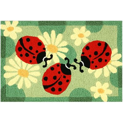 Beardall Ladybugs Hand-Tufted Green/Red/Black Indoor/Outdoor Area Rug