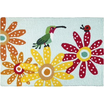 Bearer Hummingbird and Ladybug Hand-Tufted Pink/Orange/Green Indoor/Outdoor Area Rug
