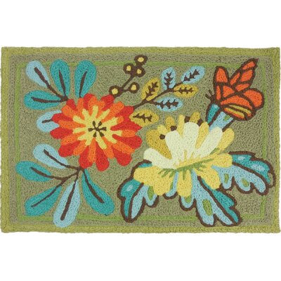 Beaston Flowers and Butterfly Hand-Tufted Yellow/Blue/Orange Indoor/Outdoor Area Rug