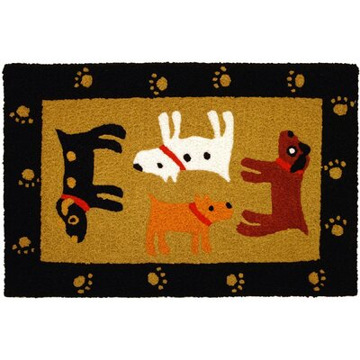 Beatson Woof Black Hand-Tufted Black/Yellow/Brown Indoor/Outdoor Area Rug
