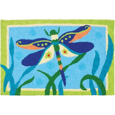 Mcgoldrick Fancy Dressed Dragonfly Hand-Tufted Blue/Green Indoor/Outdoor Area Rug
