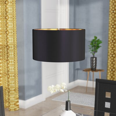 Newville 1-Light Drum Pendant Shade Color: Black/Gold