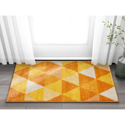 Dumas Geometric Triangle Orange/Yellow Area Rug Rug Size: Rectangle 2' x 3'