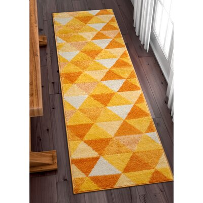 Dumas Geometric Triangle Orange/Yellow Area Rug Rug Size: Runner 2' x 7'3