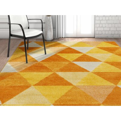 Dumas Geometric Triangle Orange/Yellow Area Rug Rug Size: Rectangle 33 x 5