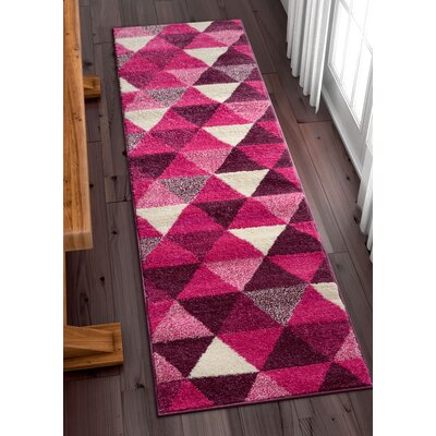 Dumas Geometric Triangle Purple Area Rug Rug Size: Runner 2 x 73