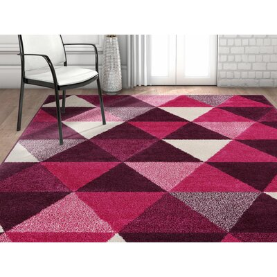 Dumas Geometric Triangle Purple Area Rug Rug Size: Rectangle 5 x 7